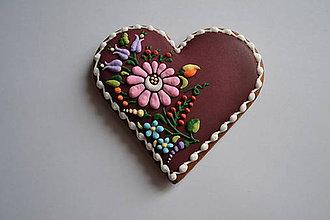 Dekorácie - Medovníkové srdiečko s kvetmi - 9072959_