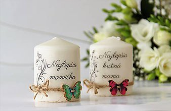 """Svietidlá a sviečky - Duo sviečok """"Najlepšia mamička, najlepšia krstná mama"""" - 9072381_"""