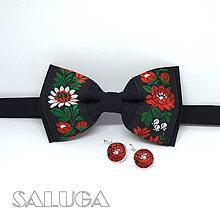 Doplnky - Folklórny čierny motýlik + náušnice - 9070677_