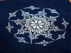 Materiál ručne robený - Plátenko modrotlač vločka - 9071652_