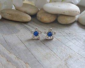 Náušnice - Kvietočky modré saphire - 9073630_