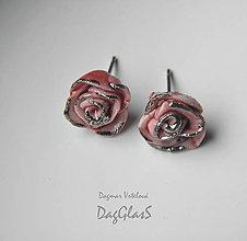 Náušnice - mini ružičky - napichovačky z porcelánu - 9072356_