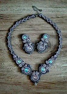 Sady šperkov - Sivoruzovy soutache set - 9073648_