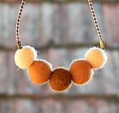 Náhrdelníky - Plstený náhrdelník s hnedastou žltou vlny s14 - 9072995_