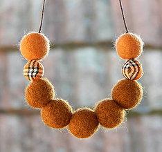 Náhrdelníky - Plstený náhrdelník hneda vlna s13 - 9072868_