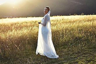 Ozdoby do vlasov - Luxusný svadobý závoj zo 100% hodvábneho tylu - 9072237_