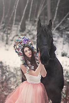 Ozdoby do vlasov - Veľká, rozprávková kvetinová koruna - 9072550_