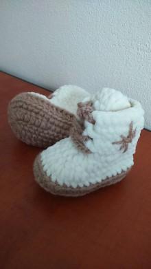 """Topánočky - Háčkované čižmičky """"plyšové šnurovacie"""" - 9070280_"""