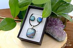 Sady šperkov - Sivo-strieborno dúhová sada sklenených šperkov - 9072877_