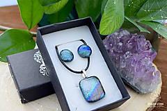 Sady šperkov - Sivo-strieborno dúhová sada sklenených šperkov - 9072880_