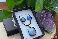 Sady šperkov - Sivo-strieborno dúhová sada sklenených šperkov - 9072887_