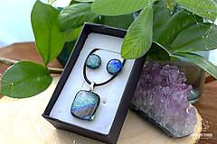 Sady šperkov - Sivo-strieborno dúhová sada sklenených šperkov - 9072888_