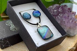 Sady šperkov - Sivo-strieborno dúhová sada sklenených šperkov - 9072883_