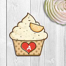 Dekorácie - Grafika na potlač jedlého papiera - ovocné koláčiky stracciatella (bodkované košíčky) - 9073283_
