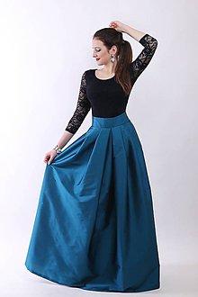 Šaty - Taftová spoločenská sukňa-smaragdovo-zelená - 9073800_