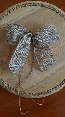 Pierka - vintage svadobná mašľa z jutoviny na kľučku auta - 9074944_