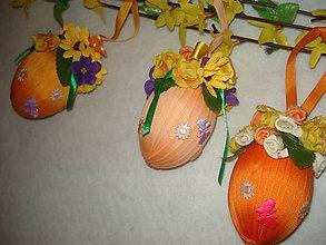 Dekorácie - stužkové vajíčka  oranžové - 9076651_