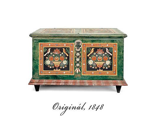 Ručne maľovaná miniatúrna truhlica z Litomyšlska