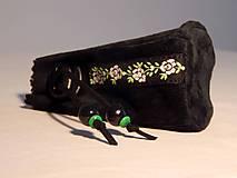 Peňaženky - M003 kožený meštek čierny s tmavozeleným odtieňom - 9076703_
