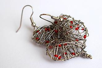 Náušnice - Červené priesvitné srdiečka - 9075723_