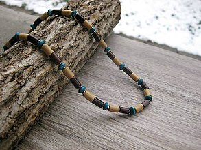 Šperky - Pánsky náhrdelník okolo krku drevený - chirurgická oceľ (hnedo modrý - CHIRURGICKÁ OCEĽ č.1718) - 9073931_