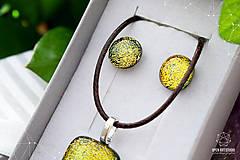 Sady šperkov - Zlatožltá sada dichroických sklenených šperkov - 9073788_