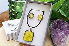 Sady šperkov - Zlatožltá sada dichroických sklenených šperkov - 9073790_