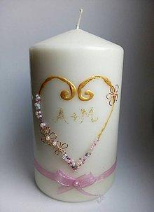 Svietidlá a sviečky - Svadobná sviečka zdobená korálkami - 9076318_