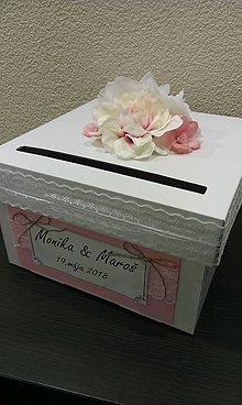 Krabičky - Wedding box - jemne ružový s čipkou - 9073799_