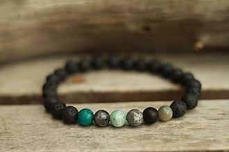 Šperky - Pánsky náramok z minerálu láva a mix - 9074553_