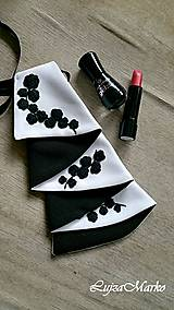 Šatky - Čierna s bielou žabó - 9076342_