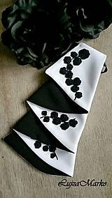 Šatky - Čierna s bielou žabó - 9076343_