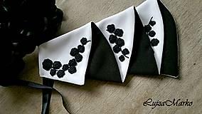 Šatky - Čierna s bielou žabó - 9076344_