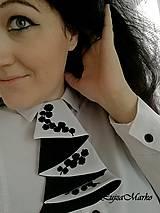 Šatky - Čierna s bielou žabó - 9076345_