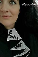 Šatky - Čierna s bielou žabó - 9076347_