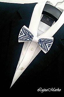 Doplnky - Bielo-modrý motýlik - 9076210_