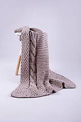 Úžitkový textil - Pletená hnedá deka - detská - 9075161_