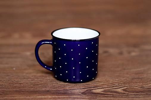 Nádoby - Bodkovaný ( modrý keramický hrnček)  - 9076091_