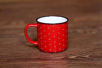 Nádoby - Bodkovaný (červený keramický hrnček) - 9076195_