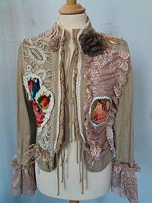 Kabáty - sako v shabby chic štýle- recyklácia - 9078514_