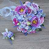 Svadobná kytica fialovo-ružová s levanduľou