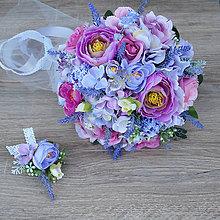 Kytice pre nevestu - Svadobná kytica fialovo-ružová s levanduľou - 9081526_
