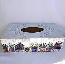 Krabičky - Krabica na vreckovky-levanduľa v kvetináčoch - 9082337_