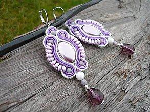 Náušnice - Soutache náušnice Pearl Violet - 9081788_
