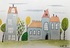 - Domy 2 pohľadnica  ilustrácia  / originál maľba  - 9078225_