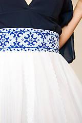 Sukne - Sukňa s madeirou a modrou výšivkou - 9080263_
