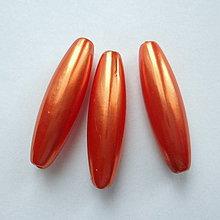 Korálky - GLANCE plast 10x30mm-1ks (tm.oranžová) - 9082887_