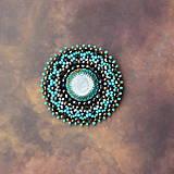 Odznaky/Brošne - Turquoise mandala n.2- vyšívaná brož - 9081363_