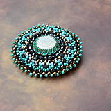 Odznaky/Brošne - Turquoise mandala n.2- vyšívaná brož - 9081365_