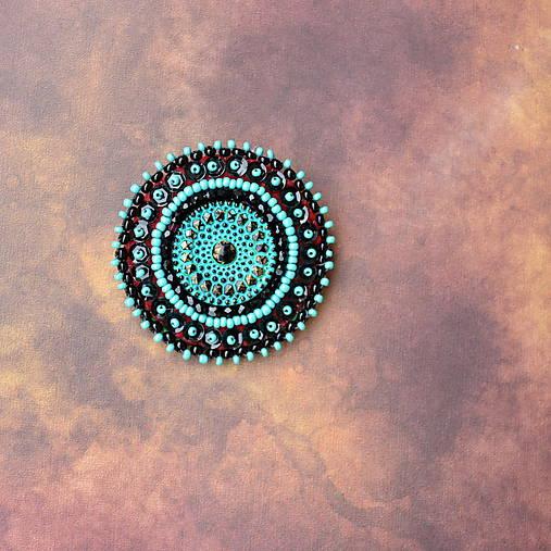 Turquoise mandala n.3- vyšívaná brož